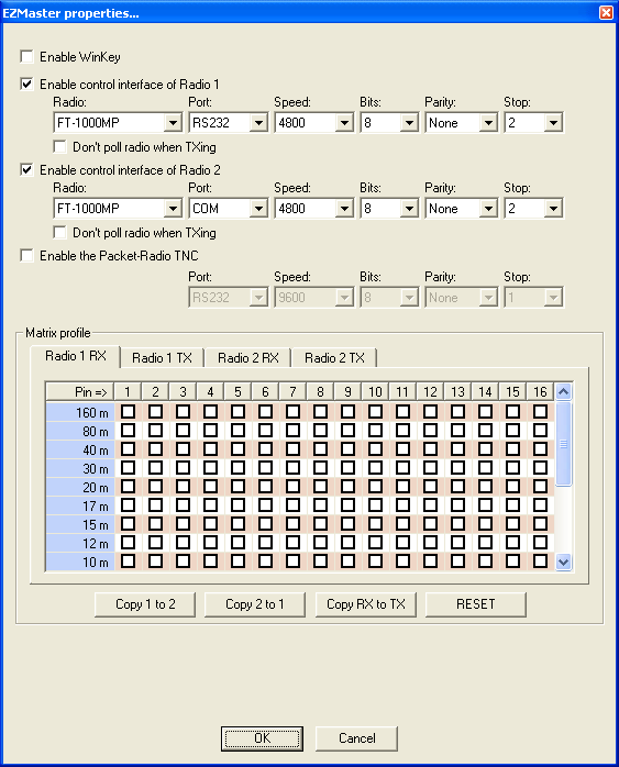 EZMaster configuration window