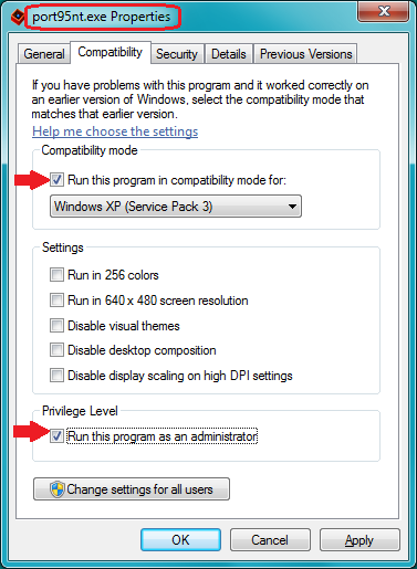 How to modify port9nt.exe properties before running it on 32-bit Windows Vista or Windows 7